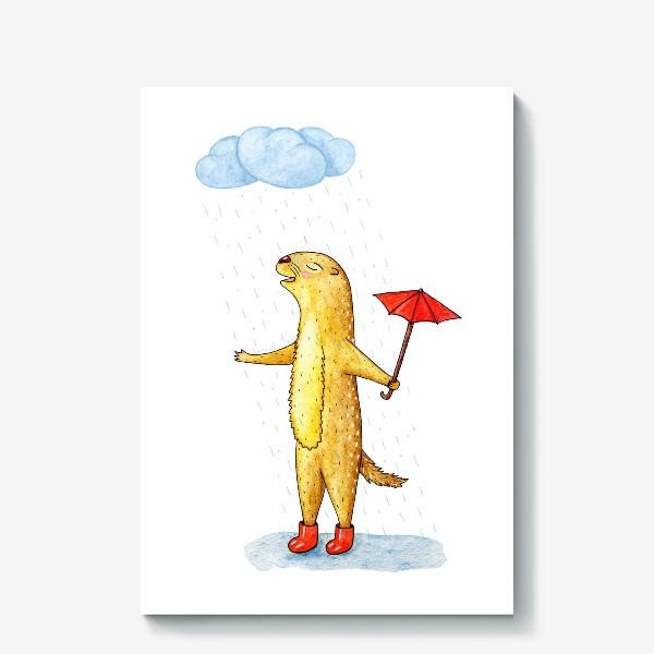 Холст «Суслик под дождем»