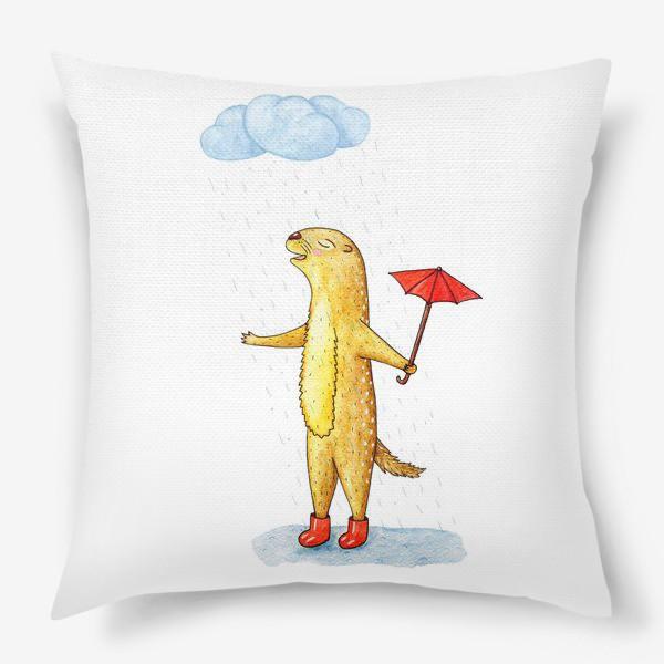 Подушка «Суслик под дождем»