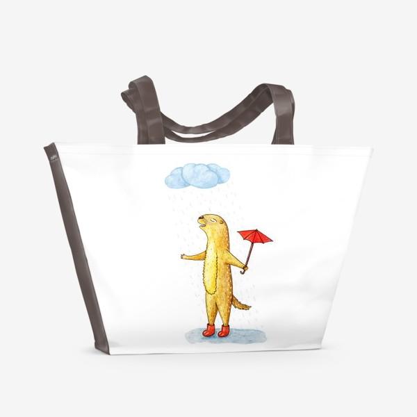 Пляжная сумка «Суслик под дождем»