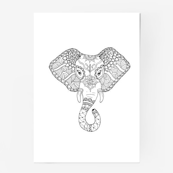 Постер «Зентангл слон»