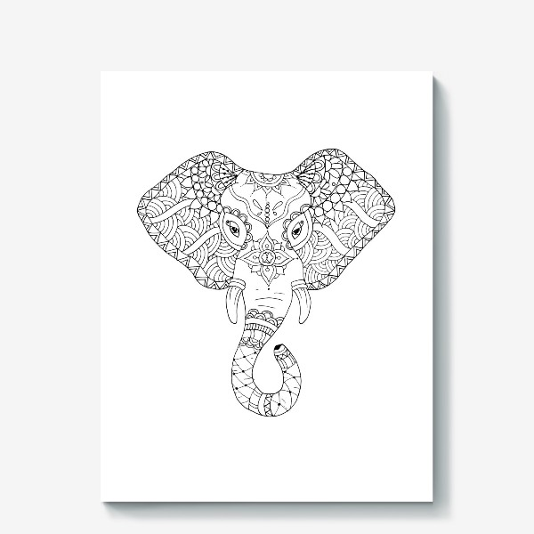 Холст «Зентангл слон»