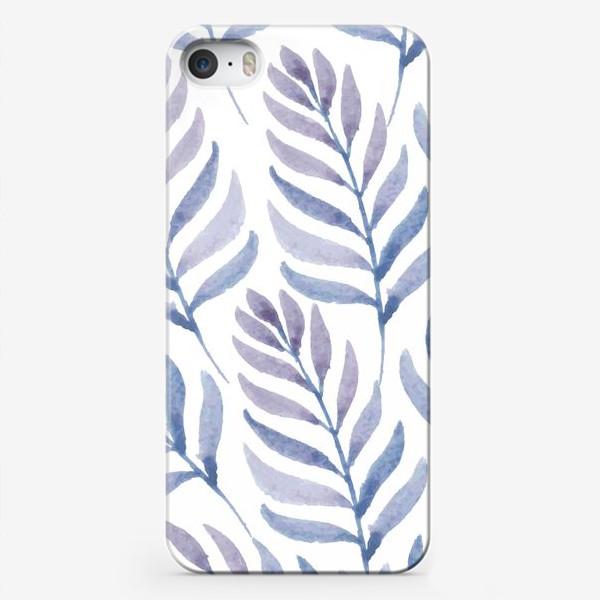 Чехол iPhone «Фиолетовые  акварельные листья »