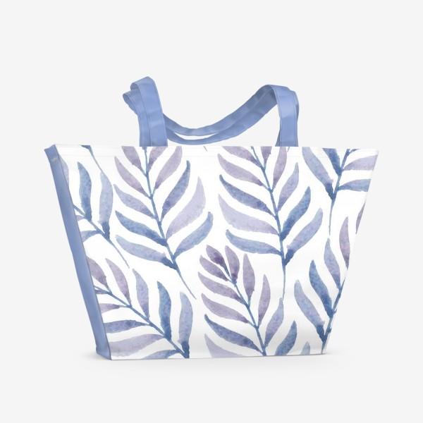 Пляжная сумка «Фиолетовые  акварельные листья »
