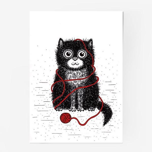 Постер «Кот и пряжа»
