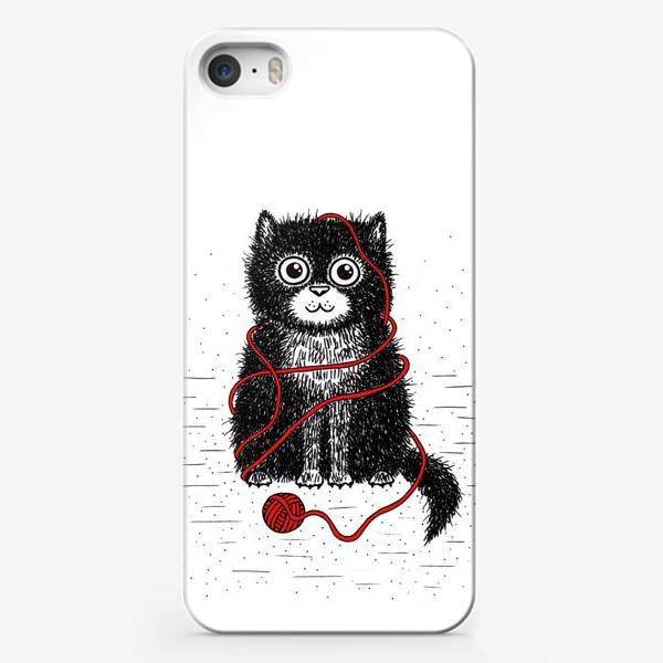 Чехол iPhone «Кот и пряжа»