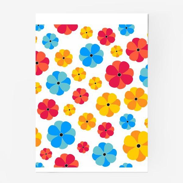 Постер «Цветочки на белом фоне»