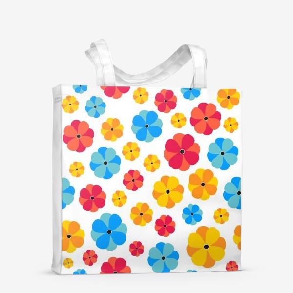 Сумка-шоппер «Цветочки на белом фоне»