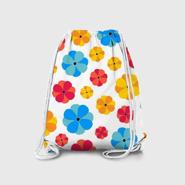 Рюкзак «Цветочки на белом фоне»