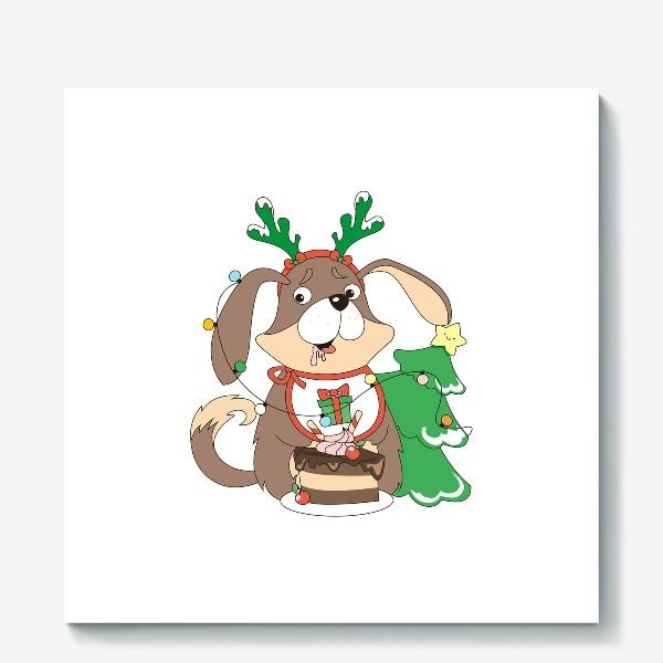 Холст «собака праздничная»
