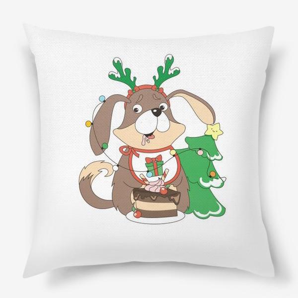 Подушка «собака праздничная»
