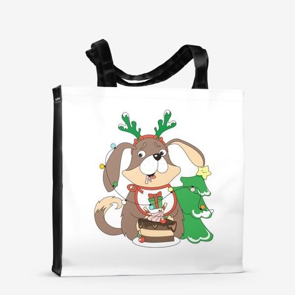 Сумка-шоппер «собака праздничная»