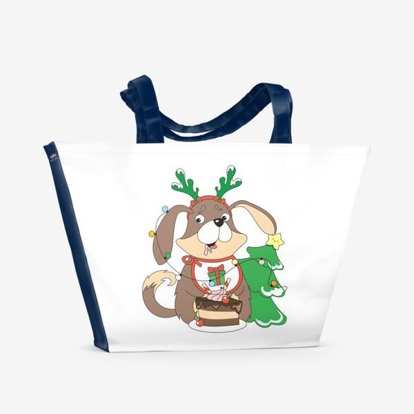 Пляжная сумка «собака праздничная»