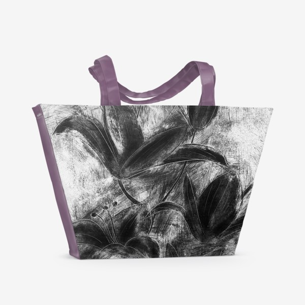 Пляжная сумка «черно-белые лилии»