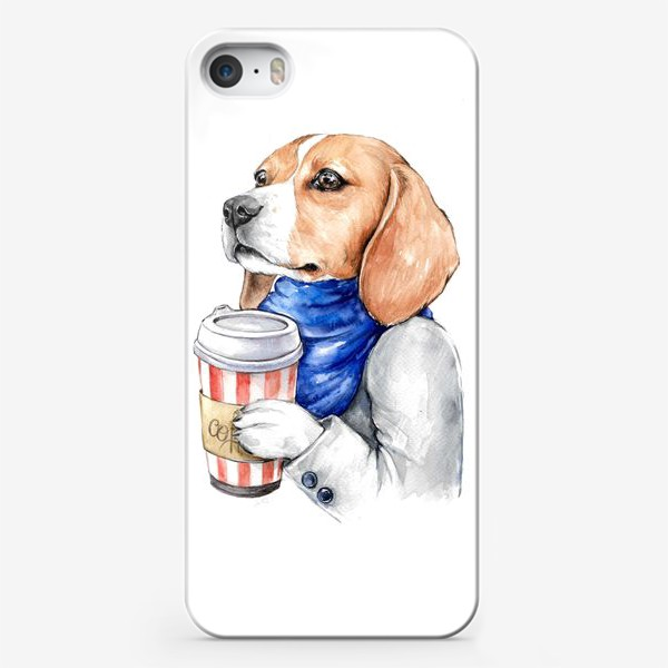 Чехол iPhone «Бигль и кофе»