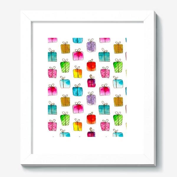 Картина «Много подарков // акварель»