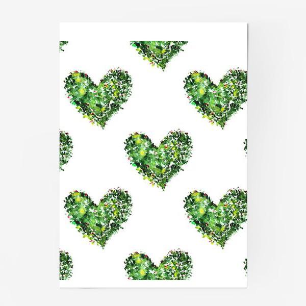 Постер «Новогодние сердечки // акварель»