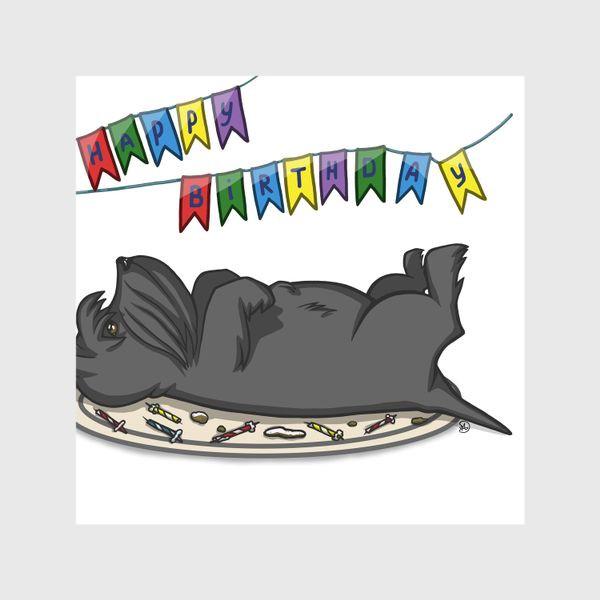 Шторы «С Днем рождения. Торт и шотландский скотч терьер»
