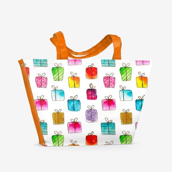 Пляжная сумка «Много подарков // акварель»