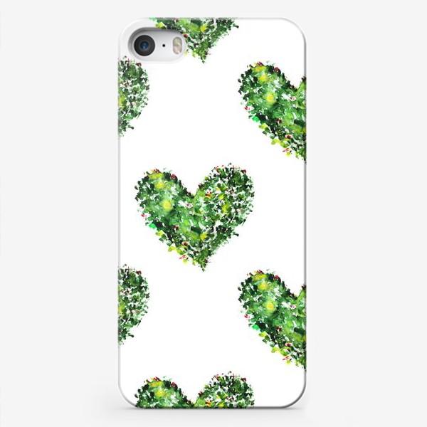 Чехол iPhone «Новогодние сердечки // акварель»