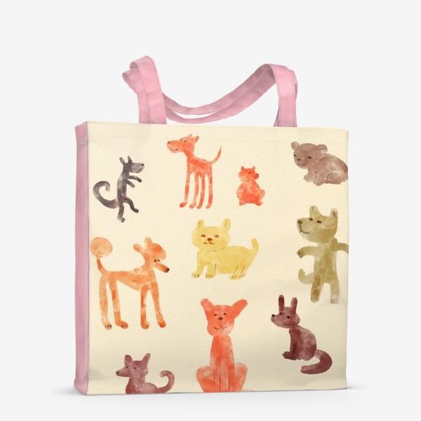 Сумка-шоппер «Веселые акварельные собачки»