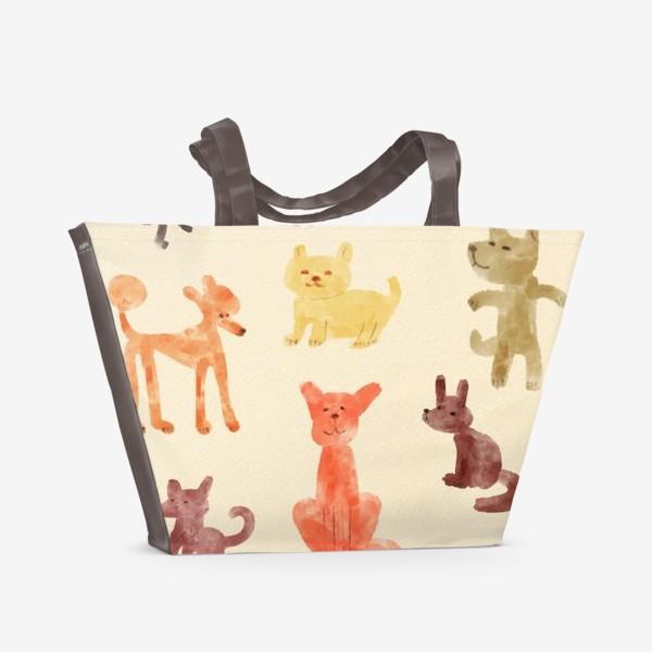 Пляжная сумка «Веселые акварельные собачки»