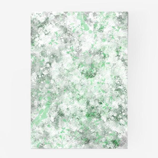 Постер «Абстрактный рисунок с брызгами серой , белой и зеленой краски»
