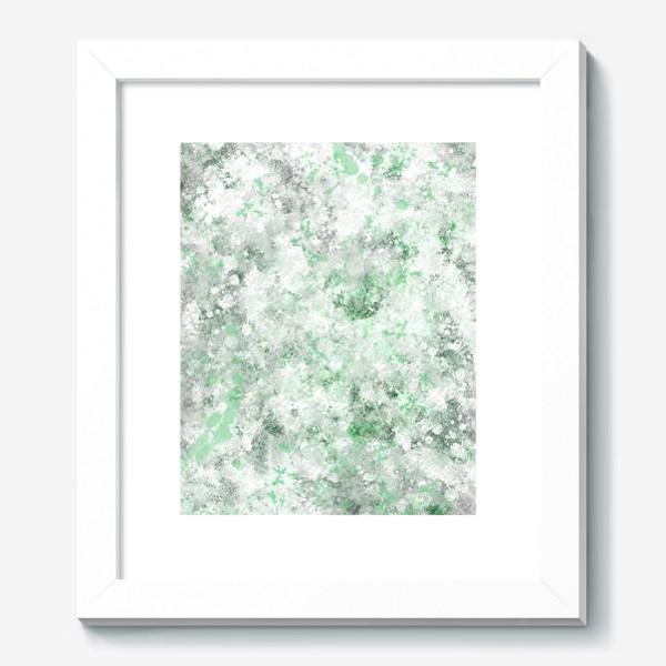 Картина «Абстрактный рисунок с брызгами серой , белой и зеленой краски»