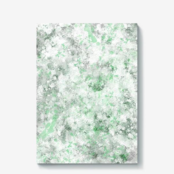 Холст «Абстрактный рисунок с брызгами серой , белой и зеленой краски»