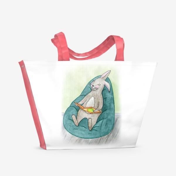 Пляжная сумка «Читающий заяц»