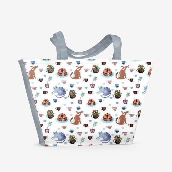 Пляжная сумка «Котопёсий паттерн с пудингом»