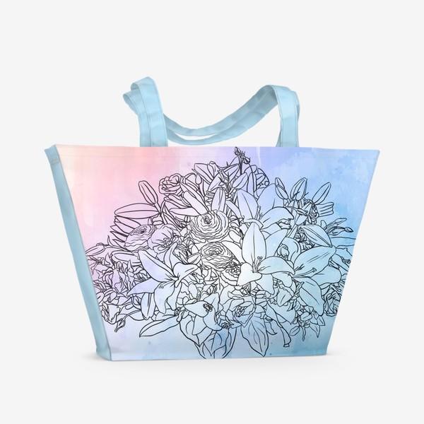 Пляжная сумка «Букет с лилиями»