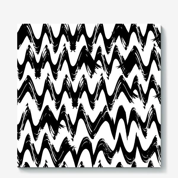 Холст «Черно-белый бесшовный паттерн с абстрактными мазками кистью »