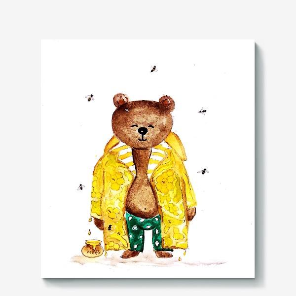 Холст «Мишка в уютном медовом плаще»