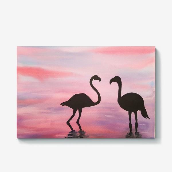 Холст «Розовые фламинго»
