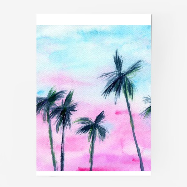Постер «Закат в Майaми // акварель»