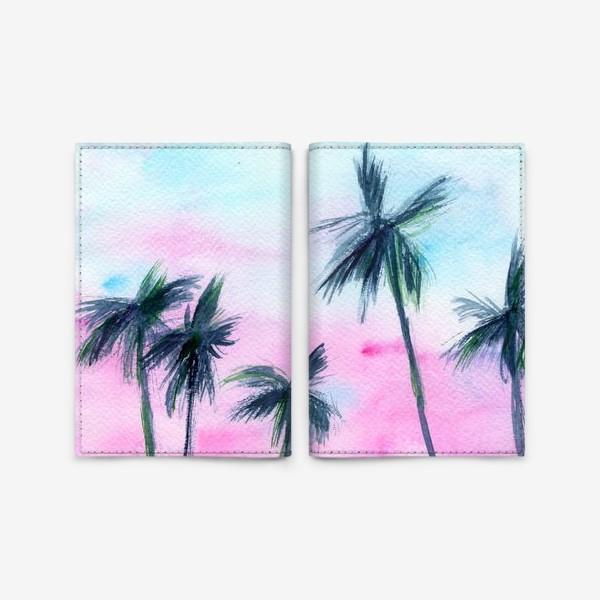 Обложка для паспорта «Закат в Майaми // акварель»