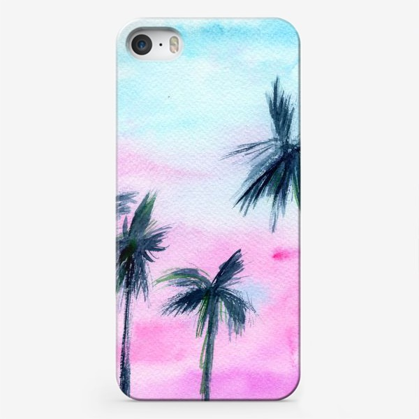 Чехол iPhone «Закат в Майaми // акварель»