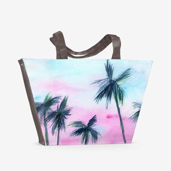Пляжная сумка «Закат в Майaми // акварель»