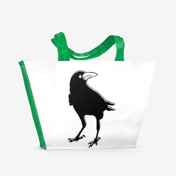 Пляжная сумка «Черный силуэт вороны с обводкой»