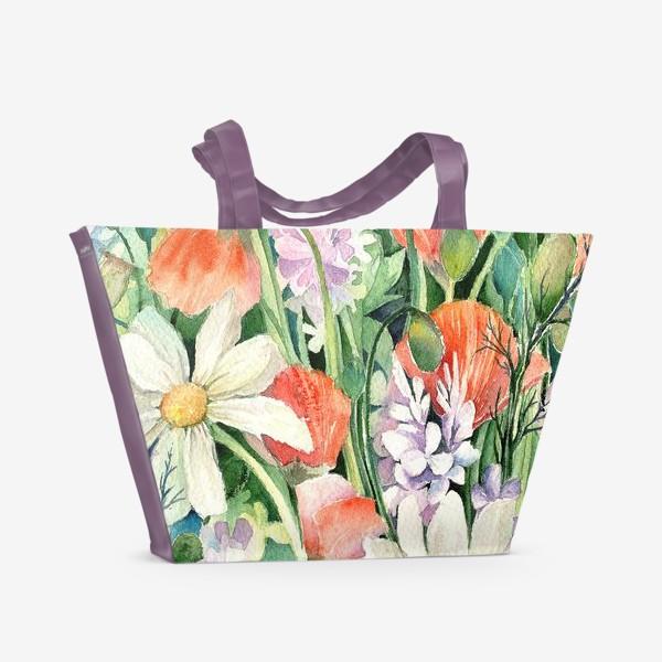 Пляжная сумка «Маки и ромашки»