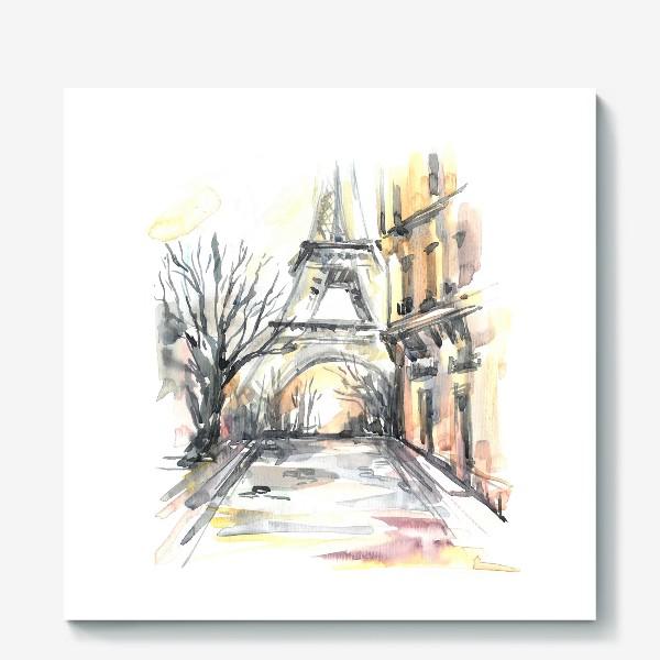 Холст «Улочка с Эйфелевой башней.»