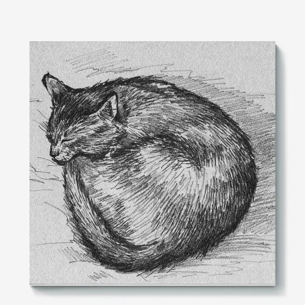Холст «спящая кошка»