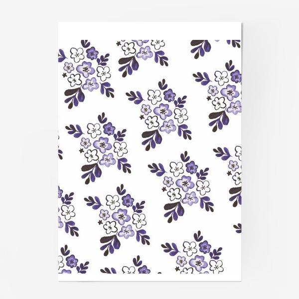 Постер «Фиолетовый акварельный цветочный паттерн»