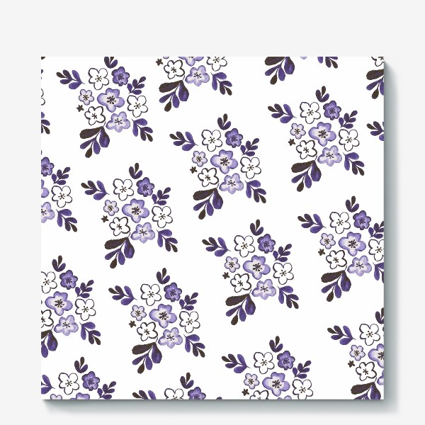 Холст «Фиолетовый акварельный цветочный паттерн»