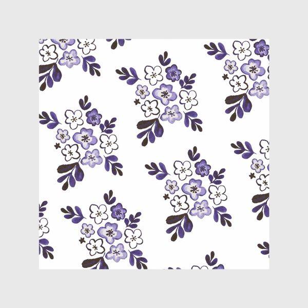 Шторы «Фиолетовый акварельный цветочный паттерн»