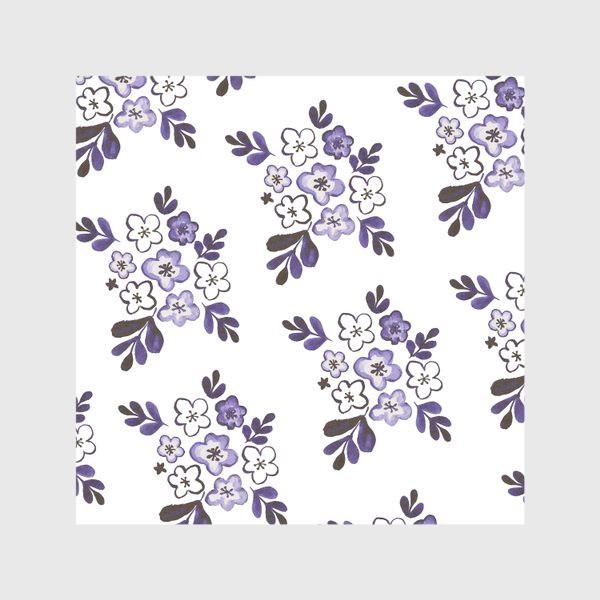 Скатерть «Фиолетовый акварельный цветочный паттерн»