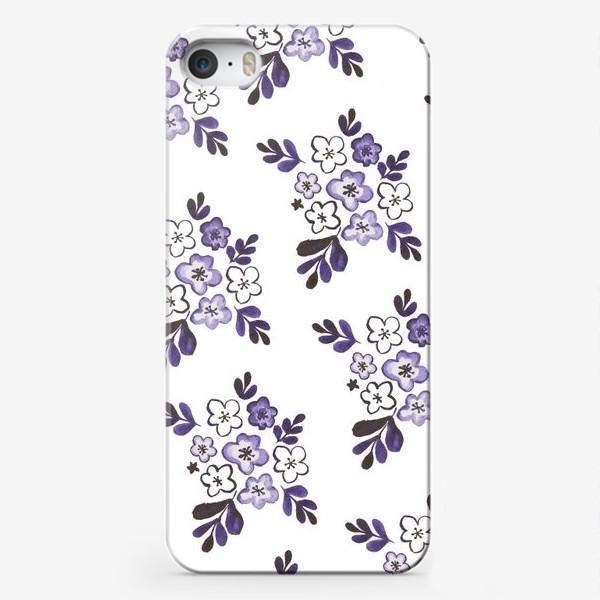 Чехол iPhone «Фиолетовый акварельный цветочный паттерн»