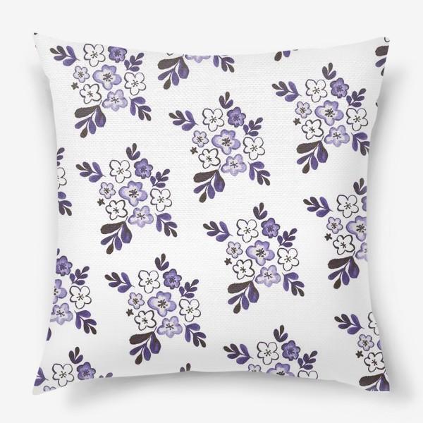 Подушка «Фиолетовый акварельный цветочный паттерн»