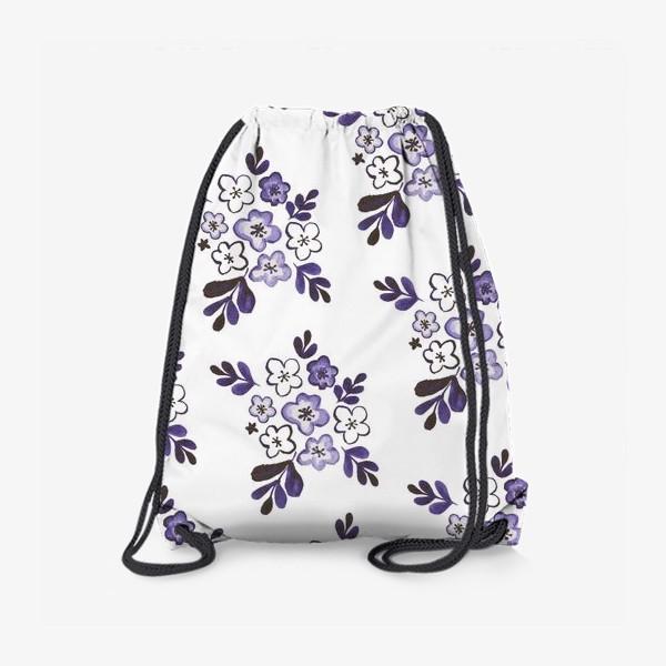Рюкзак «Фиолетовый акварельный цветочный паттерн»