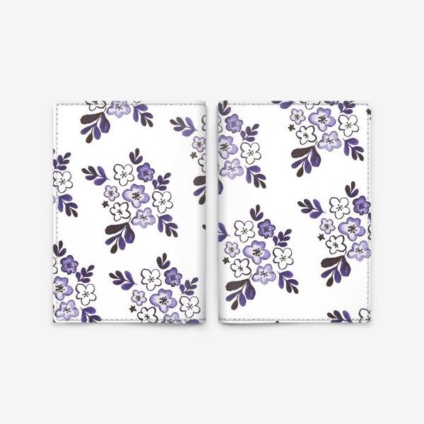 Обложка для паспорта «Фиолетовый акварельный цветочный паттерн»